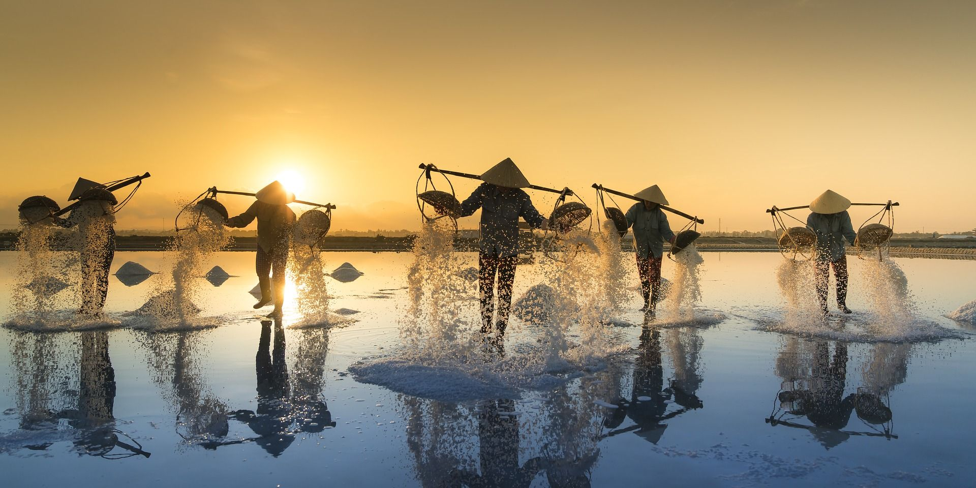 Salt pans at sunset